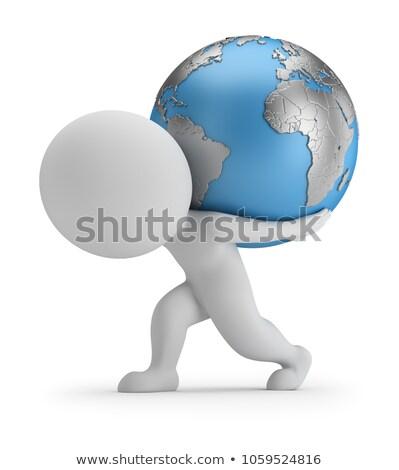 ストックフォト: 3D · 小 · 人 · 地球 · 人