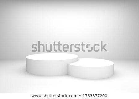 Fehér pódium három rang renderelt kép 3d illusztráció Stock fotó © Oakozhan