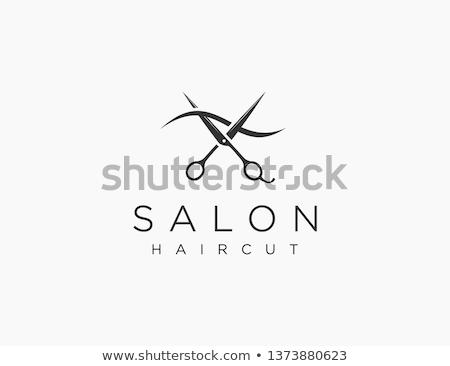 Stilista parrucchiere parrucchiere icona facce forbici Foto d'archivio © Krisdog