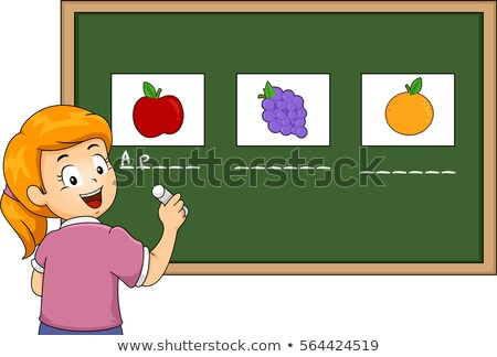 fille · apprentissage · écrire · nom · primaire · classe - photo stock © monkey_business