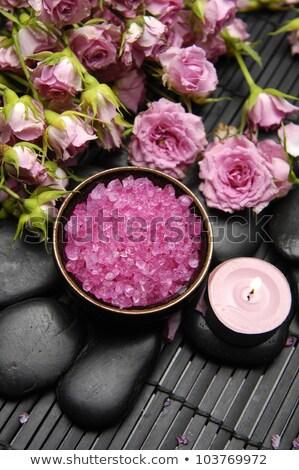 Kırmızı gül kaya tuz aromaterapi nesne düğün Stok fotoğraf © yo-yo-