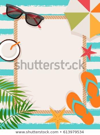 Yaz çerçeve örnek vektör kız bahar Stok fotoğraf © yo-yo-