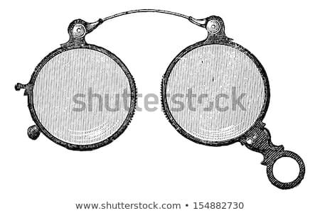 Stok fotoğraf: Bağbozumu · antika · gözlük · yalıtılmış · beyaz · çerçeve