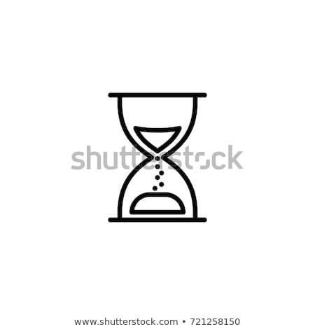 Kum saati hat ikon beyaz saat arka plan Stok fotoğraf © Imaagio