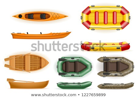 set rowing boats made of plastic wooden and inflatable vector il Stock photo © konturvid