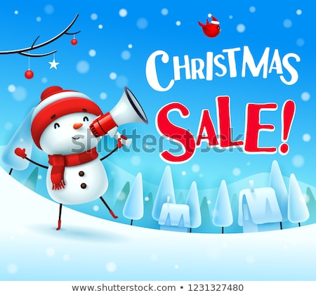 Рождества · продажи · снеговик · мегафон · снега - Сток-фото © ori-artiste