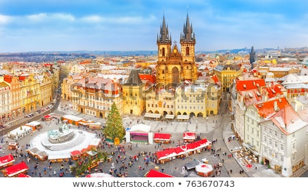 Prag · kış · şehir · kar · kilise · seyahat - stok fotoğraf © artush
