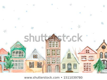 sketch for christmas poster with cozy small houses in old town or village template for greeting car stock photo © lady-luck