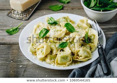 Házi készítésű tortellini spenót sajt fa deszka gluténmentes Stock fotó © Melnyk