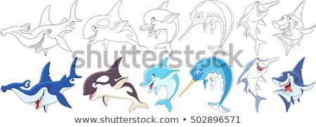 Stockfoto: Kwaad · cartoon · walvis · illustratie · naar · dier