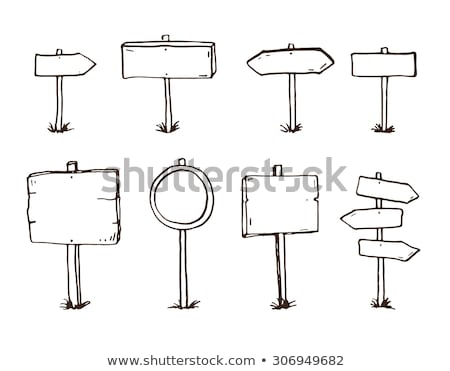 Road sign with arrow hand drawn outline doodle icon. Stock photo © RAStudio