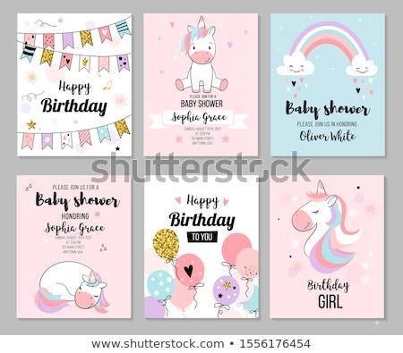 Joyeux anniversaire puéril Rainbow peu princesse Photo stock © robuart