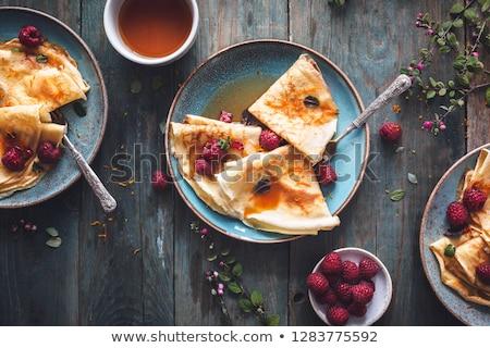 伝統的な 薄い パンケーキ オレンジ ソース グレー ストックフォト © YuliyaGontar