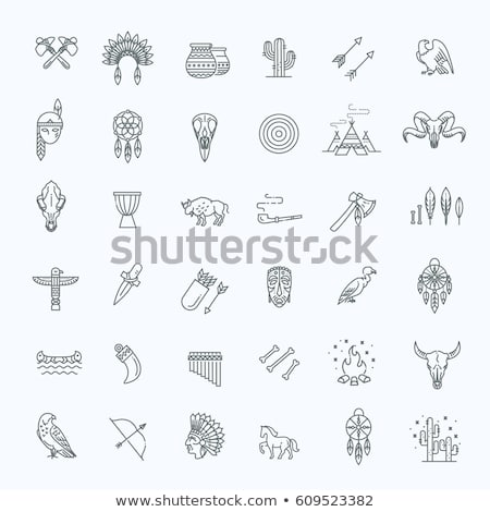 set of wild west american indian designed elements stock photo © netkov1