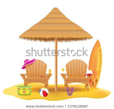 beach armchair lounger deckchair wooden and umbrella made of str Stock photo © konturvid