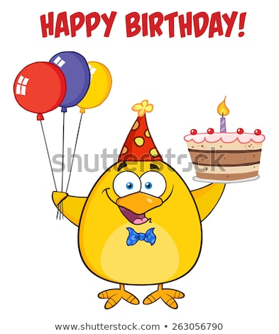 Happy Birthday With Chick Holding Up A Colorful Balloons And Birthday Cake Stock photo © hittoon