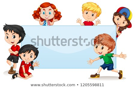 Frame template with happy kids Stock photo © bluering