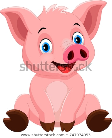 счастливым · комического · свинья · характер · Cartoon · иллюстрация - Сток-фото © izakowski