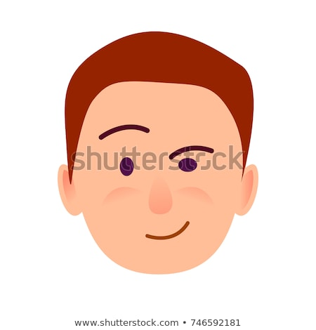 Brunette Boy with Distrustful Look Flat Art Icon Stock photo © robuart