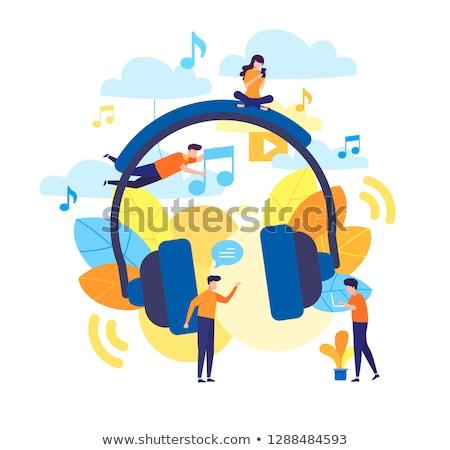 Dinleme müzik şarkı vektör ikon Stok fotoğraf © pikepicture