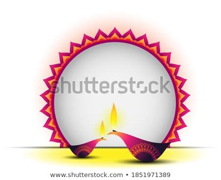 two happy diwali diya with text space stock photo © sarts