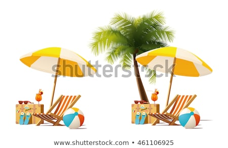 Umbrella and Deck Chair Set Vector Illustration Stock photo © robuart
