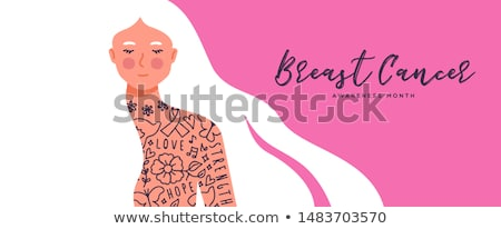 Breast Cancer awareness concept of tattoo woman Stock photo © cienpies