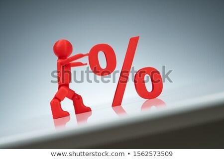 Umani carattere spingendo up percentuale simbolo Foto d'archivio © AndreyPopov