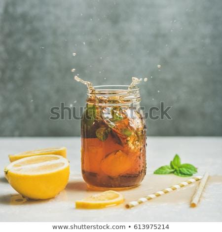 Limón té movimiento oscuro vidrio Foto stock © Illia
