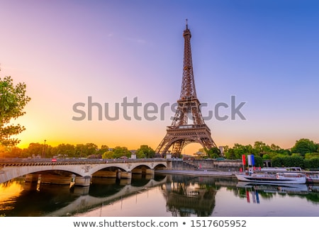 Eiffel tur Paris Eyfel Kulesi bahçe gün batımı Stok fotoğraf © neirfy