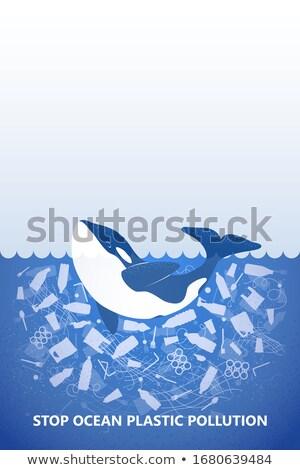 Su kirlenme poster çöp okyanus örnek Stok fotoğraf © bluering