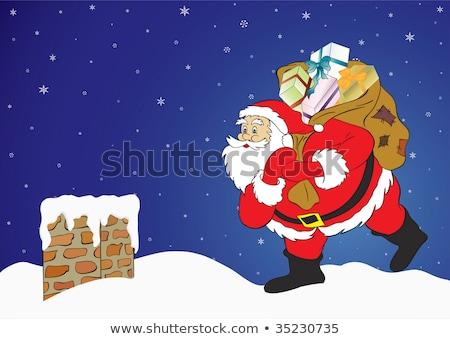 Christmas schoorsteen illustratie sneeuw kaart Stockfoto © bluering