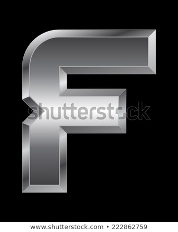 Brushed metal font Letter F 3D Stock photo © djmilic