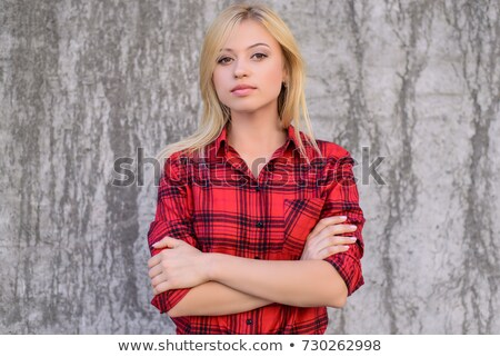 red haired teenage girl looking up and dreaming Stock photo © dolgachov