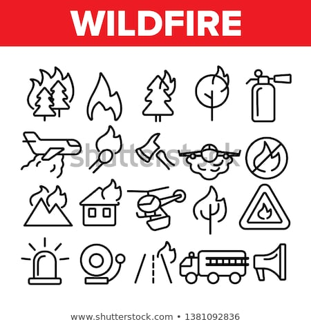 Fire With Smoke Wildfire Vector Thin Line Icon Stock photo © pikepicture