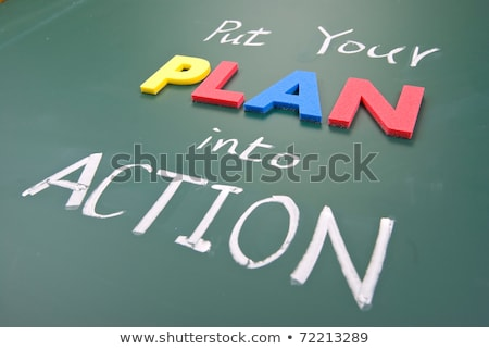 Plan actie woorden Blackboard abstract licht Stockfoto © Ansonstock