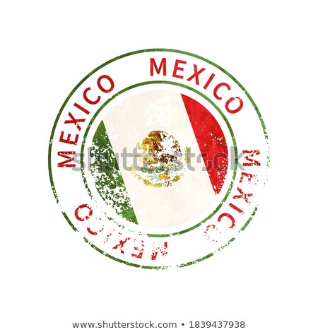 Mexico sign, vintage grunge imprint with flag on white Stock photo © evgeny89
