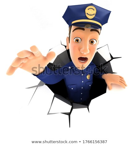 3d policeman falling down into a hole Stock photo © 3dmask