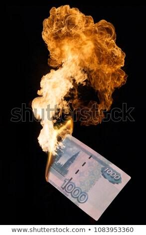 Brandend duizend business papier brand zwarte Stockfoto © Paha_L