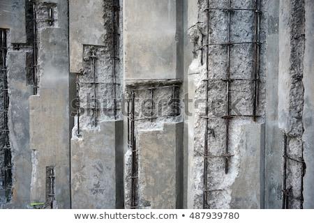 Foto stock: Velho · aço · concreto · blue · sky · fundo · metal