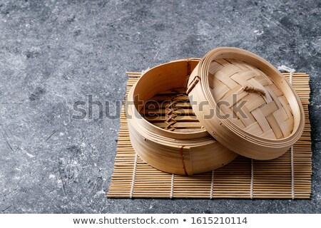 Bambusa drewna obiedzie śniadanie tłuszczu asian Zdjęcia stock © sahua