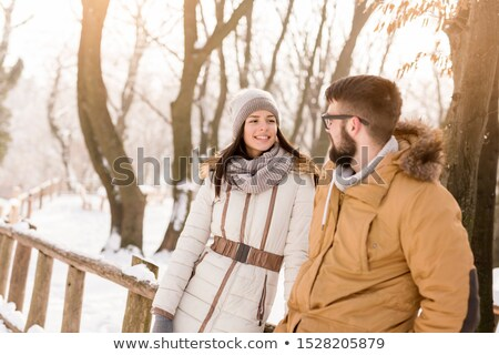 Couple on snowy mountain Stock photo © photography33
