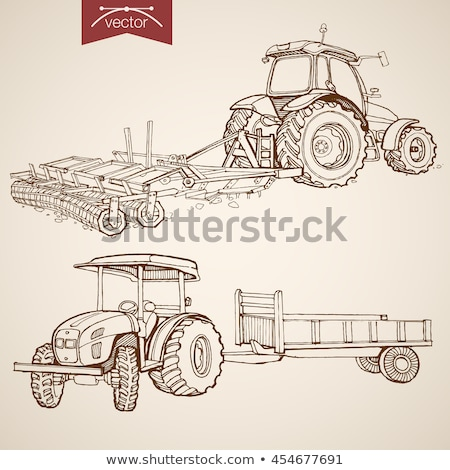 old tractor with plough stock photo © mikko