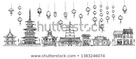 Kínai pagoda egyszerű zöld izolált fehér Stock fotó © ivonnewierink