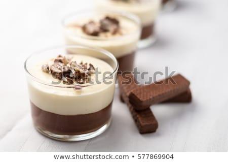 элегантный шоколадом пудинг десерта стекла взбитые сливки Сток-фото © klsbear