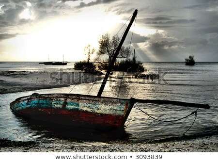 Red dhow sailing boat with nets Stock photo © jacojvr