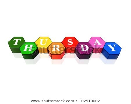 thursday in 3d coloured hexagons Stock photo © marinini