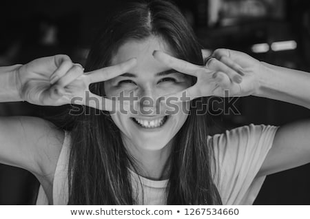 girl in cafe photo in black and white style stock photo © massonforstock