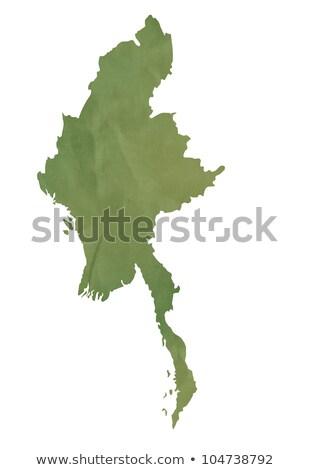 velho · verde · mapa · birmânia · papel - foto stock © speedfighter