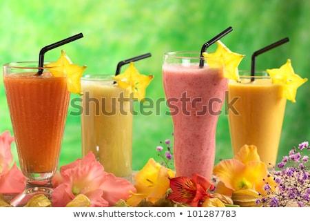 Adornar mango jugo rebanada frescos atención selectiva Foto stock © ildi